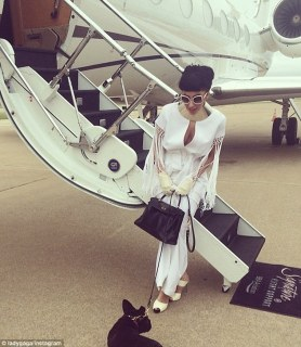 Jet-setting: Gaga, 28, shared another shot outside of her private jet with pup Asia by her feet. She explained to her fans she was off to meet artist Jeff Koons
