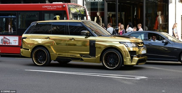 This gold-plated Range Rover drew admiring glances from other drivers as it made its way through London