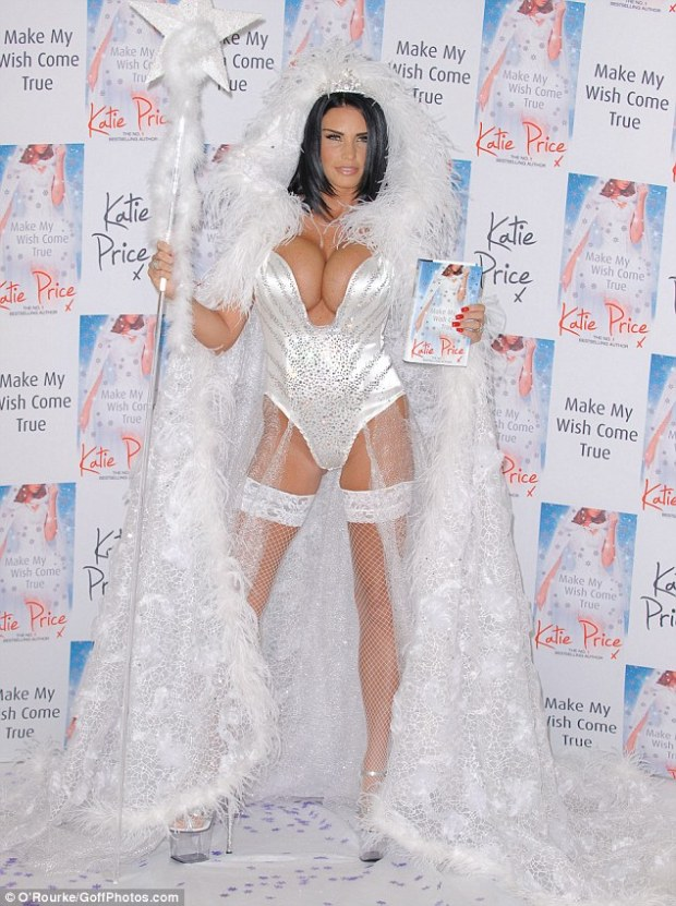 Bibbidi-Bobbidi-Boobs! Katie Price displays her ample cleavage in the fairy godmother of all costumes to promote her new book