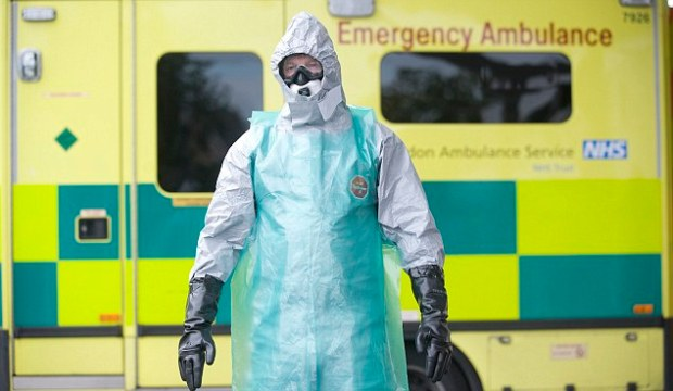 A medical professional takes part in an eight-hour national Ebola breakout exercise in October to test Britain's readiness for an outbreak, but Nigeria, to whereMr Ogunnoiki travelled, has been declared free of the virus