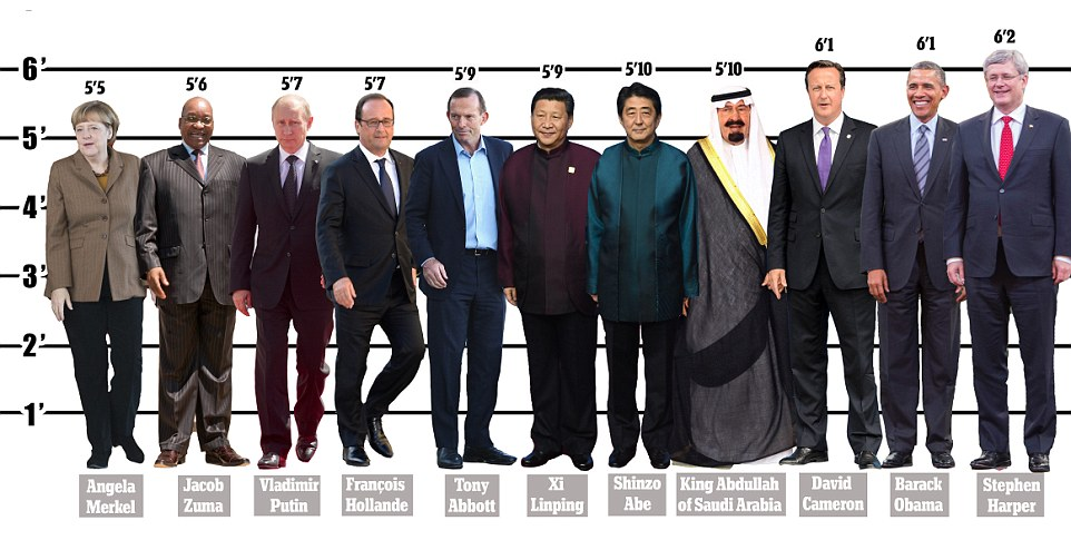 G20 world leaders  height revealed in infographic   Daily Mail Online How do the G20 leaders line up  From left to right  Angela Merkel