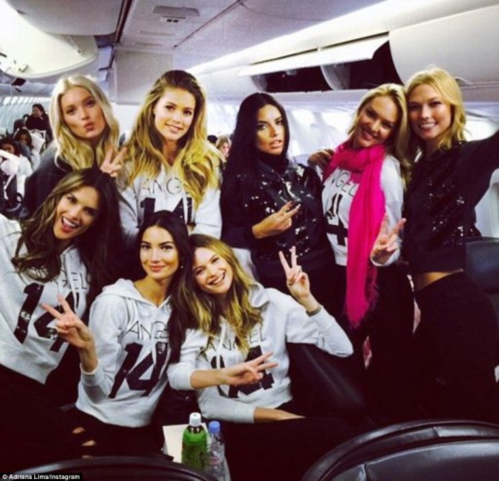 Taking their seats: Adriana shared a snap from inside the cabin before the girls got comfortable