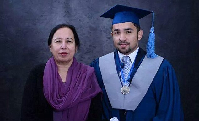 Tahira Kazi, the principal of the Army Public School and College in Peshawar, died after she was reportedly set on fire by Taliban militants in front of her pupils. She is pictured with a man believed to be her son