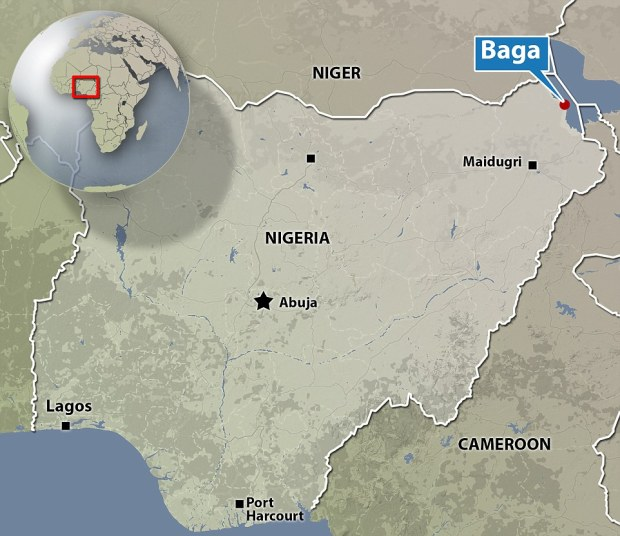 Turmoil: map showing Nigeria and the location of Baga which was devastated by brutal Boko Haram fanatics