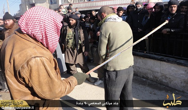 Musicians in Syria were given 90 lashes each after they were caught by the Islamic State's religious police playing an electric keyboard, which they deemed 'offensive to Muslims', according to pictures posted online