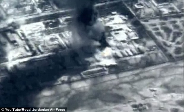 Target: This footage is believed to show Jordanian forces bombing Islamic State sites in Syria today