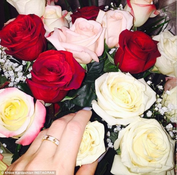 Lavish gifts! The reality TV star was a 'lucky lady' to be showered with a large bouquet of roses and a pink gold Cartier Love ring with diamonds