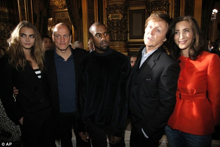 Proud: (L-) Cara Delevingne, Woody Harrelson, Kanye West, Sir Paul McCartney and Nancy Shevall