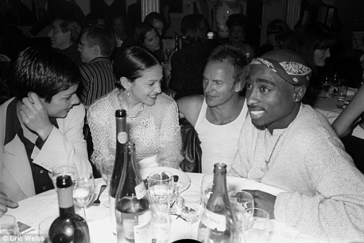New couple: Madonna and Tupac Shakur, who had a relationship after meeting in 1993, are pictured in 1994 at a dinner party in New York, along with Madonna's galpal Ingrid Casares and Police frontman Sting