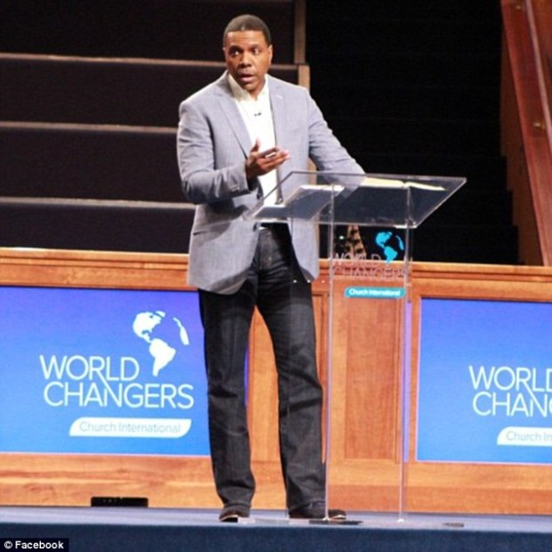 Open palm: Reverend Creflo Dollar of the World Changers Church International wants 200,000 people from across the world to each donate '$300 or more' so that he can buy the world's fastest private jet