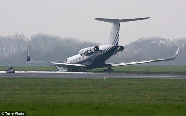 Damage: The Rev Creflo Dollar's plane crashed as it prepared for departure from London Biggin Hill airport on 24 November last year. The church then launched an appeal for a new Gulfstream G650