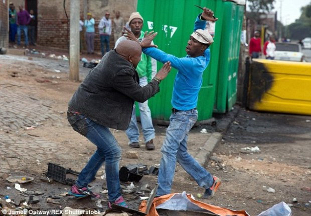 Horrific: The brutal murder of Mozambican man Emmanuel Sithole in a township near Johannesburg was captured on camera. Zwelithini has beenblamed for sparking outbursts of xenophobic violence like this