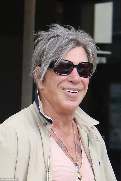 Mickey Rourke opts for a neutral outfit as he flashes his chest | Daily Mail Online