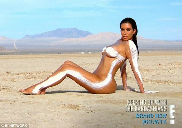 For art: Kim Kardashian showed off all her curves as she posed for the sexy pictures for her website on the latest episode of Keeping Up With the Kardashians on Sunday