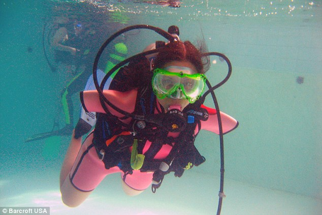 Underwater: Jessica learnt to scuba dive in 2011 proving that not having arms was not a barrier for her