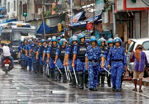 RAF personnel on patrol near Yakub Memon's residence in Mumbai on July 30
