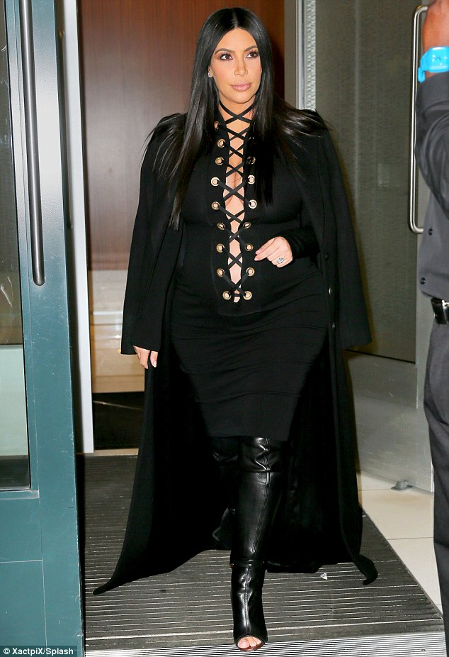 Another wacky maternity outfit: Kim Kardashian went for a memorable look when she stepped out in New York City on Monday