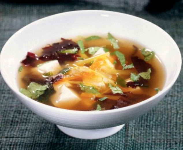 Women with a diet high in soya, which is found in Miso soup. pictured, had less dense breast tissue than women that avoided it. Dense breast tissue is found to carry a higher risk of cancer