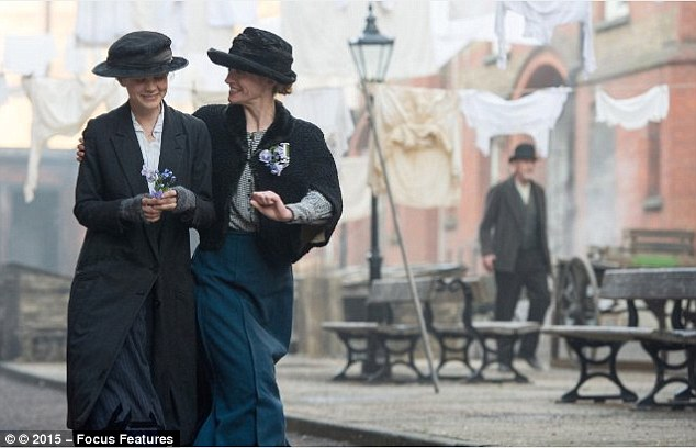 Maud (Mulligan, left) is introduced to the suffragette cause by co-worker, Violet (Anne-Marie Duff, right)