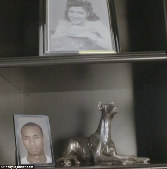 Eclectic: The mugshot next to a statue of her dog Norman and below a vintage snap of her grandmother Esther