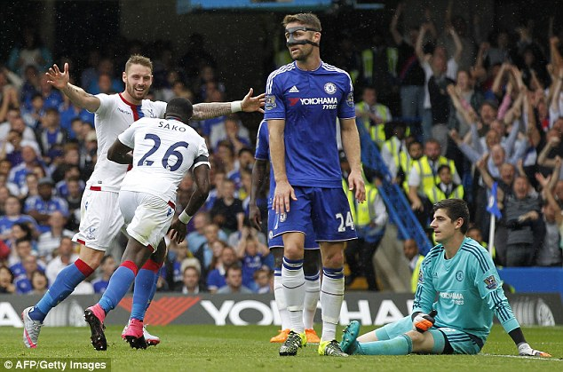 Bakary Sako wheels away after scoring the first goal during only Mourinho's second home league defeat