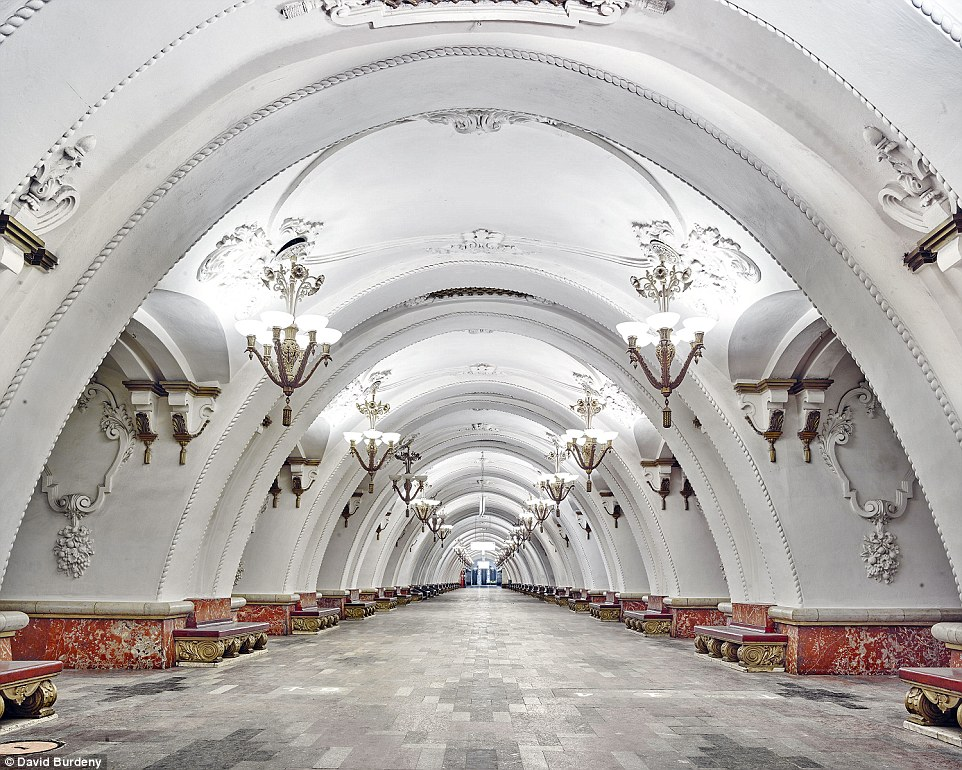 Instead of cramped walkways with adverts, the Arbatskaya Metro Station is a spacious and luxurious welcome to this area of Moscow