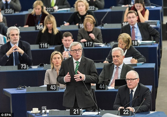 The single currency will be jeopardised if Europe's passport-free Schengen zone collapses, Jean-Claude Juncker (pictured standing) has warned