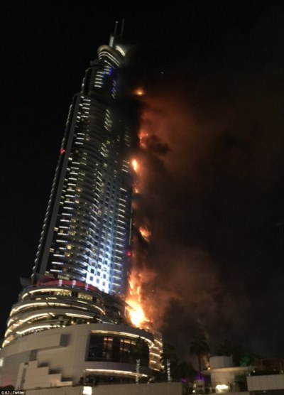 The Address Downtown Dubai hotel fire fails to halt New Years Eve celebrations | Daily Mail Online