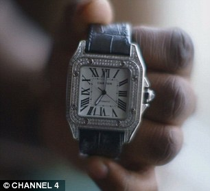 He invests in cars as well as watches, like this £21,000 Cartier watch he's worn twice