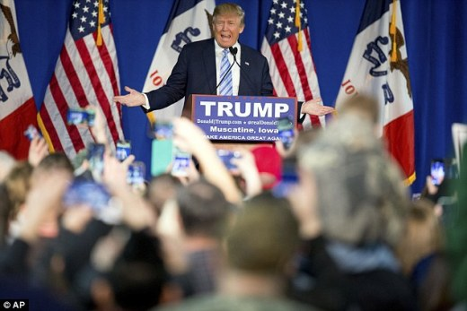 The Republican presidential candidate's rally in Muscatine, Iowa was interrupted by a group of protesters on Sunday