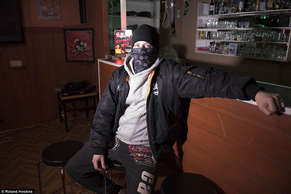 Boss: 'Jani', 27, one of three leaders of the Kemi 'division' of the Soldiers of Odin who works in a paper factory by day, says the group does not follow Nazi ideologies but admits there will be a 'war on the streets, and we are ready to fight'