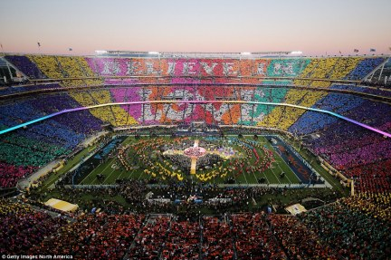 Coldplay's halftime message was rather more upbeat and colorful, with 'Believe In Love' written across the crowd