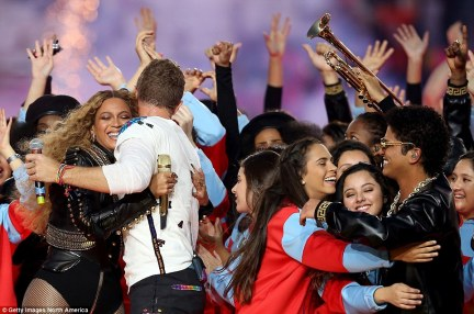 Joyous: There was plenty of embracing going around as they finished off the highly-entertaining performance