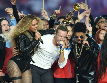 Beyonce stole a halftime show which also featured performances from British rock group Coldplay and Bruno Mars (pictured with her)
