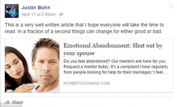 The father's motive is not known, but Bohn had recently posted an article on Facebook called 'Emotional Abandonment: Shut out by your spouse'