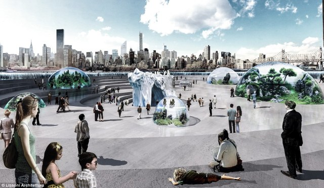 The futuristic aquarium would be submerged in New York's East River on