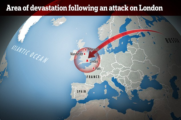 If a Sarmat missile were fired at London it would wipe out most of Britain, as well as northern France, Belgium and the Netherlands