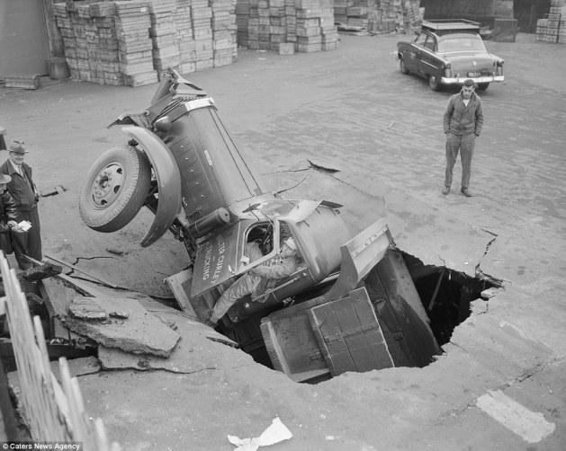 Boston Herald-Traveler photographer Leslie Jones had an eye for a dramatic scene, including when this seven-tonne dump truck plunged through the Warren Avenue bridge, in Boston
