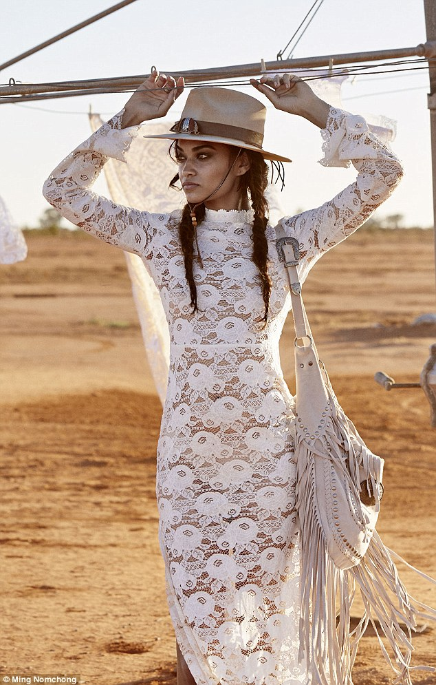 Sheer perfection! Shanina Shaik, 25, posed up a storm in a photo shoot for Australian label Spell And The Gypsy Collective