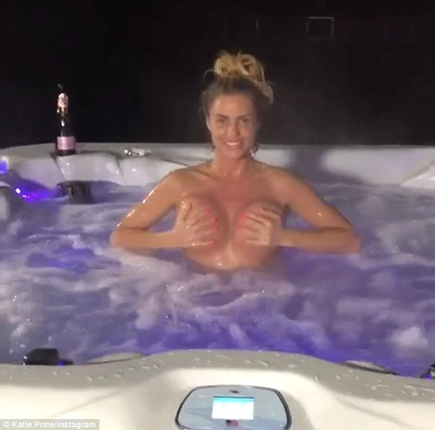 Cheeky: Katie Price dared to bare in a lighthearted Instagram video on Wednesday, which saw her go topless as she danced around in a hot tub
