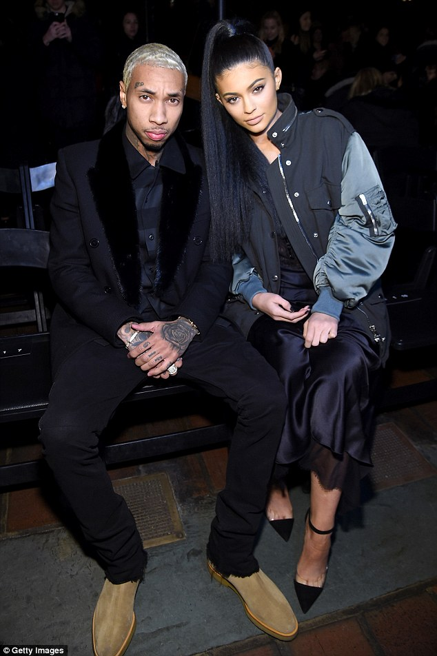 Ex-pensive taste: Tyga bought ex-girlfriend Kylie Jenner a Ferrari - she was pictured with him on February 13 before their eventual break up