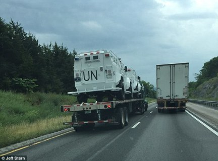 Jeff Stern posted photos of the vehicles on Facebook, writing: 'Can't begin to tell you how many of these I passed today on 81 near Lexington VA, Interesting times ahead!'