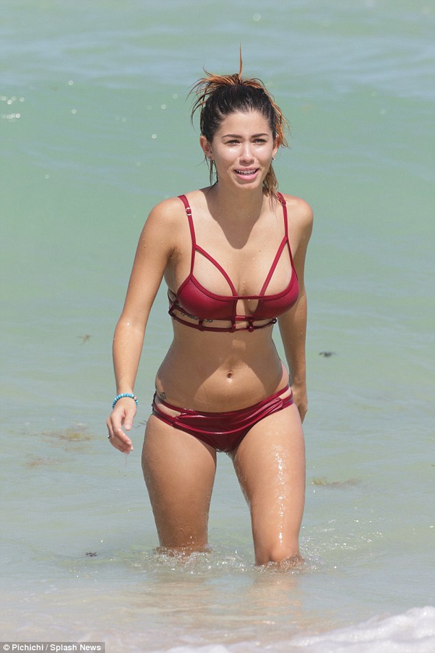 Wow: Model Alexandra Rodriguez flaunted her amazing body in a sexy two-piece bikini as she soaked up the sun on Miami Beach, Florida
