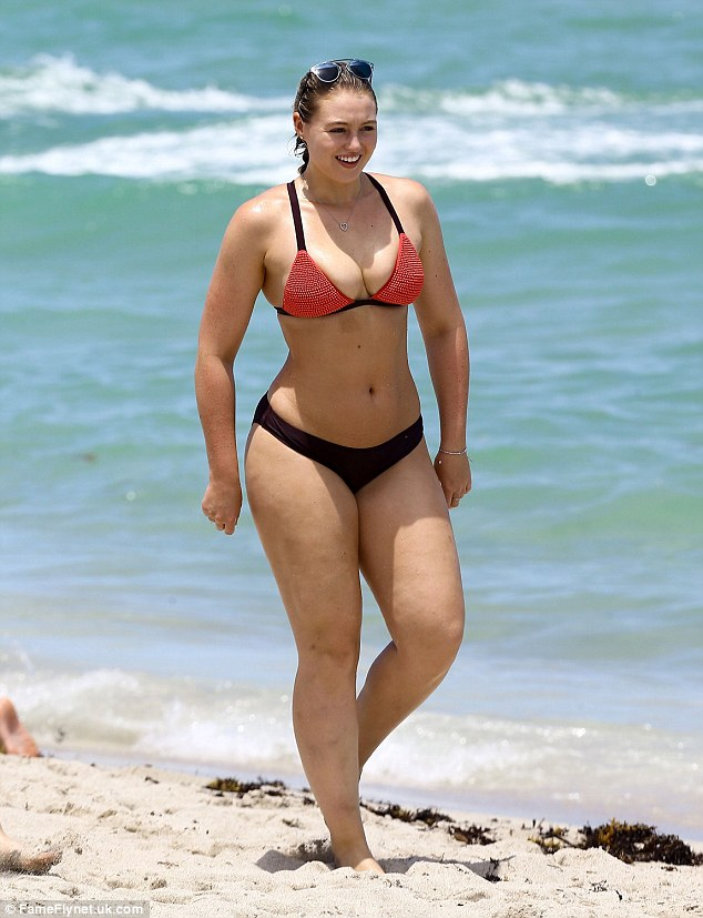 Impressive proportions: The body confidence campaigner cut an attractive figure on the beach