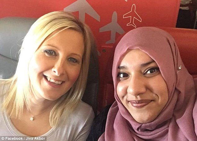 Jiva Akbor, right, who was flying from Glasgow to Malaga, was worried when a passenger behind her, left, saw she was texting in Arabic. The fellow passenger, Beverly, altered the stewardesses