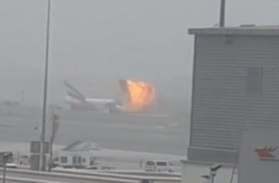 Dramatic footage shows the aircraft exploding in a fireball on the runway, with the force of the blast throwing a huge metal panel from the plane into the air