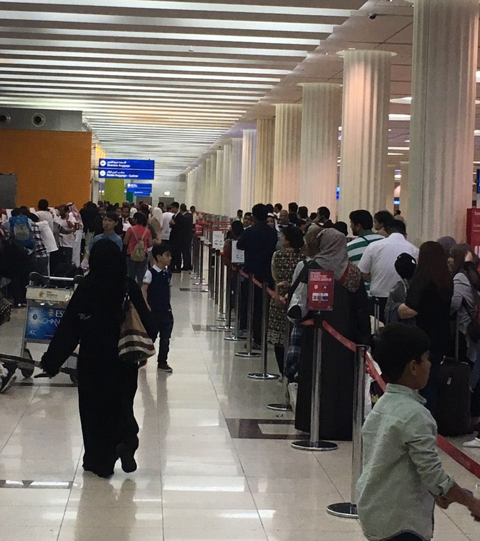 Severe delays: All take-offs and landings have been suspended with flights due to resume at 3.30pm UK time. Passengers are pictured queuing at the terminal