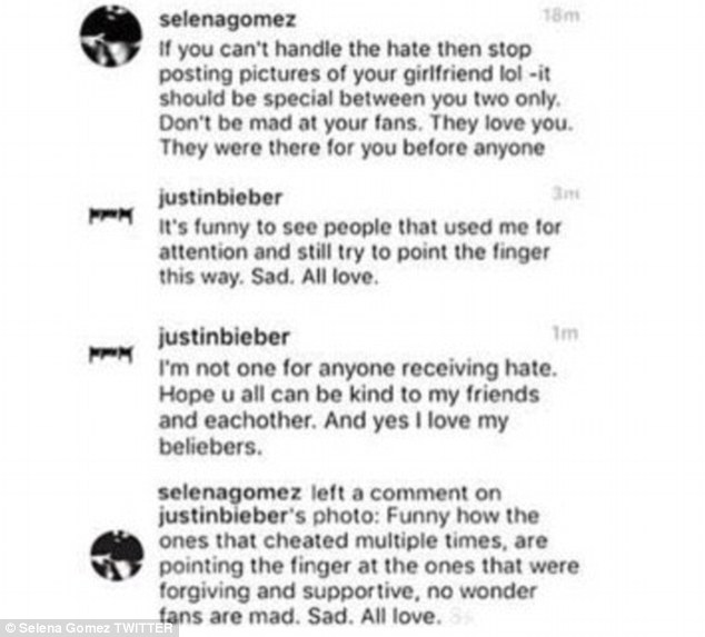 Zing! Out of the blue his ex-girlfriend Selena Gomez took a swipe, and the blows got lower and lower after that