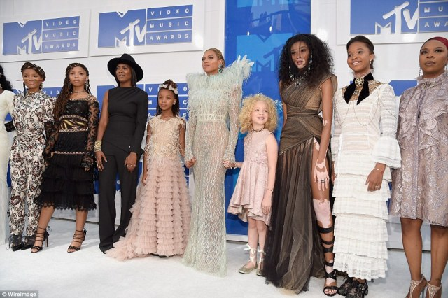 Her crew! Naturally Beyonce was accompanied by her massive entourage including the mothers of gun violence victims Mike Brown, Trayvon Martin, Eric Garner and Oscar Grant