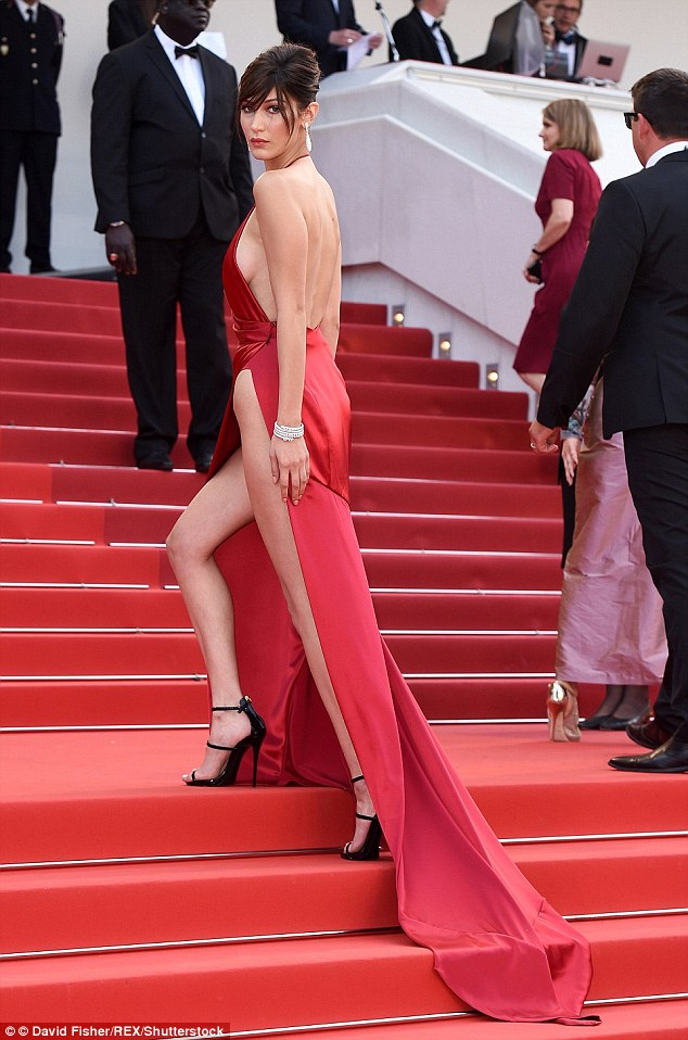 Bella Hadid's profile rocketed after she flashed her thighs in a barely there wisp of red silk at this year's Cannes Film Festival
